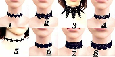 Black Lace Choker Necklace Women Fashion Punk Gothic Collar - Masquerade Kostüm Für Damen