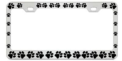 Dog Paws Metal Auto License Plate Frame Car Tag Holder
