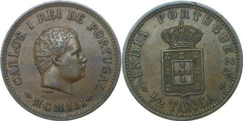 1903 India-Portguese 1/2 Tanga KM# 16 Extra Fine