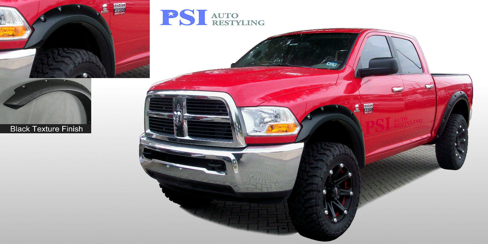 black textured pocket style fender flares 2010 2016 dodge ram 2500 ram 3500 ebay. Black Bedroom Furniture Sets. Home Design Ideas