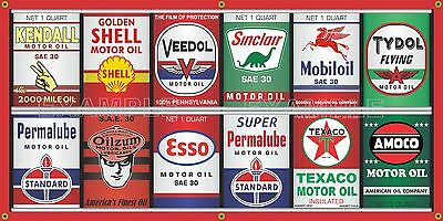 OIL CAN COLLECTION GAS STATION DISPLAY MURAL BANNER SIGN GARAGE ART SIGN 2' X 4' - Gas Station Sign Display