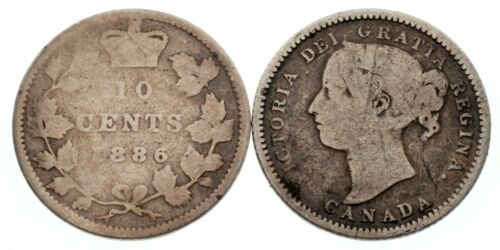 Canada 1886 and 1888 10C Lot of 2 Coins AG - Fine Condition