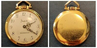 Vintage Sheffield OLD Gold Tone Wind Up Pocket Watch Pendant Necklace for repair