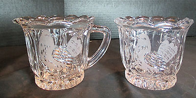 Cut Crystal Creamer and Sugar Bowl with Bird Design