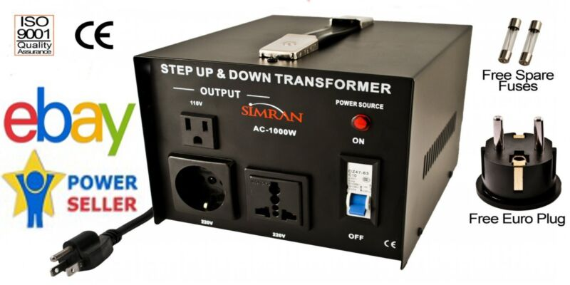 Simran 110-220 Volt Power Voltage Converter 1000 W Transformer Up Down 220V 110
