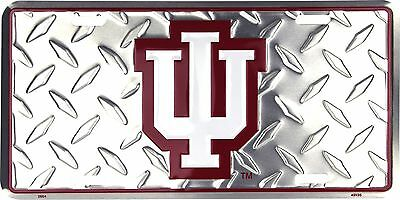 (University of Indiana Hoosiers Metal Diamond Pattern License Plate Auto Tag Sign)