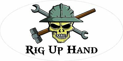 3 - Rig Up Hand Skull Oilfield Roughneck Hard Hat Helmet Sticker H304