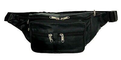 Black Leather Waist Fanny Pack Belt Bag Travel Hip Sport Pur