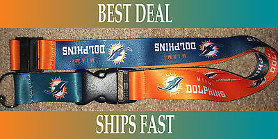 (NEW NFL Official Team Colors REVERSIBLE KEYCHAIN LANYARD -Miami Dolphins)