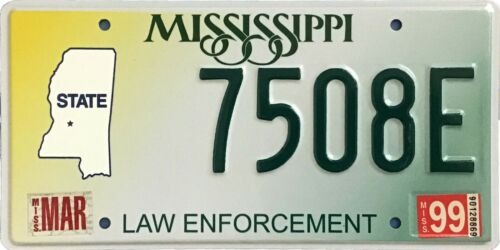 Mississippi 1999 LAW ENFORCEMENT POLICE SHERIFF License Plate - 7508E