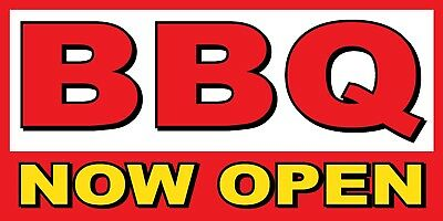 Bbq Now Open Banner Sign - Sizes 24 48 72 96 120