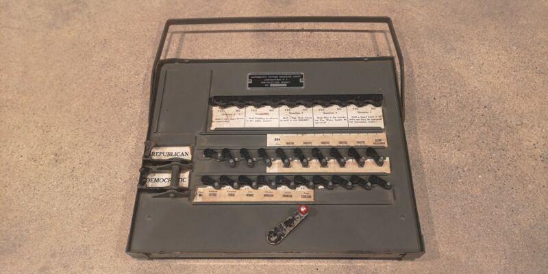 Vintage Automatic Voting Machine Jamestown NY Democrat Republican