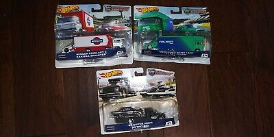 HOT WHEELS TEAM TRANSPORT LOT '66 NOVA MERCEDES 190e NISSAN FAIRLADY Z DAMAGED