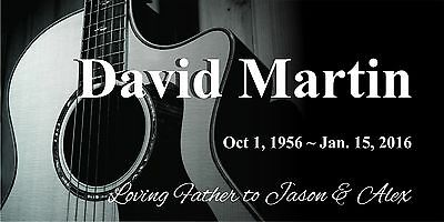 """Personalized human Stone Memorial Plaque 6"""" x 12""""  Headstone Guitar marker"""