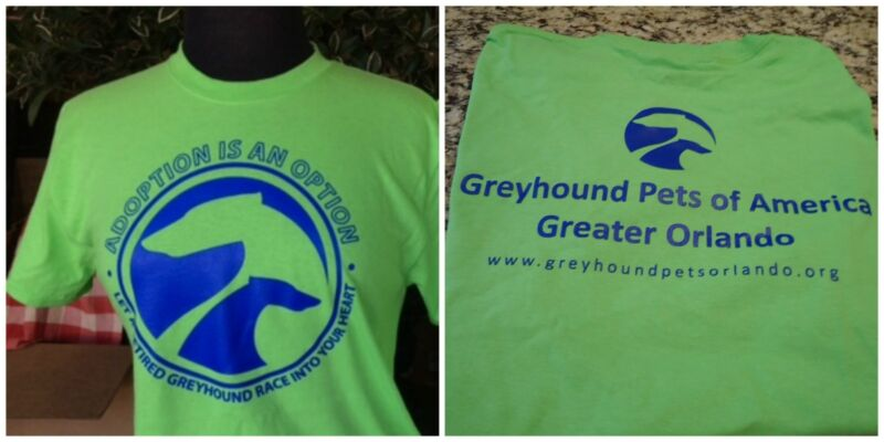 Greyhound T Shirt Size  LARGE Green  (Greyhound Adoption)