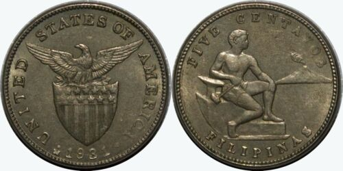 1931-M US/Philippines 5 Centavos ~ AU ~ Allen#5.02 ~ MX369