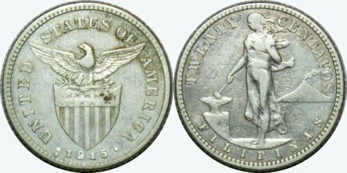 1915-S US/Philippines 20 Centavos ~ VF Details ~ A#11.11 ~ 75% Silver ~ MX310