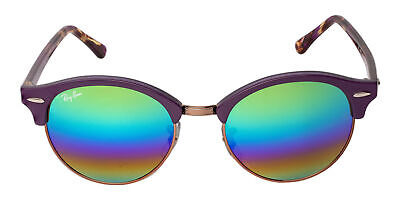 Ray Ban Clubround RB4246 1221C3 51 Violet Frame Raindow Mirrored Lens (Ray Ban Colored Mirrored Sunglasses)