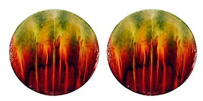 "Ceramic Red Orange & Green Drip Glazed Plate Set/2 Dessert Salad Home 8"" D NEW"
