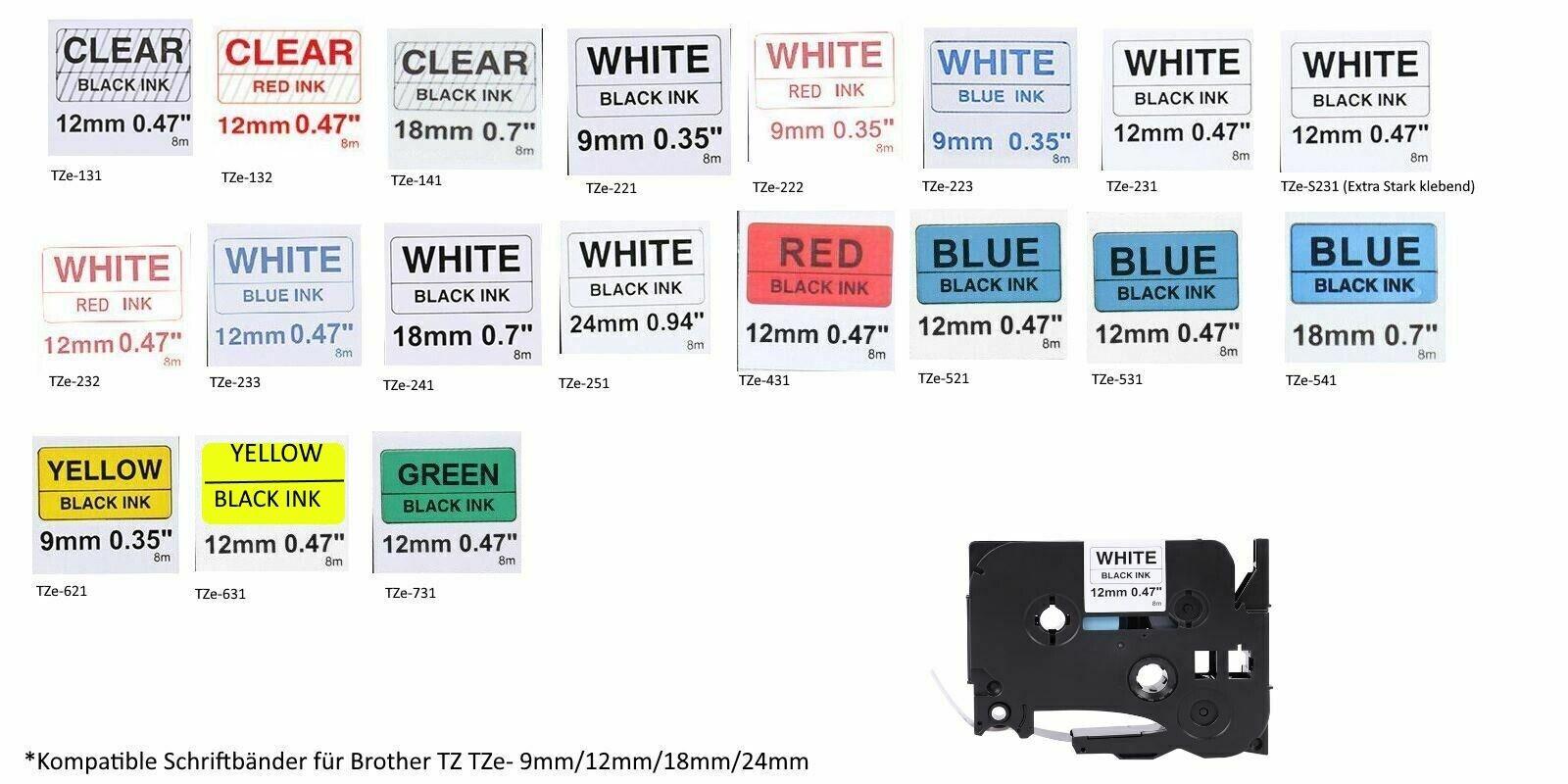 5x Alternative Schriftbänder für Brother TZE233 Blau auf Weiß Ptouch Plus Serie