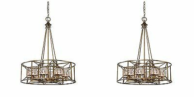 "TWO NEW 25"" AGED SILVER METAL PENDANT CHANDELIER LIGHT GLASS CUBE DETAIL LIGHT"