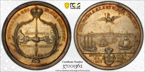Scarce 1810 Emden Germany City View Silver Medal AU58 PCGS - 2 Taler Size