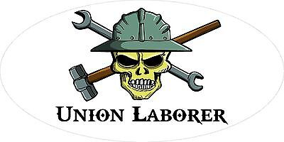 3 - Union Laborer Skull Oilfield Roughneck Hard Hat Helmet Sticker H326