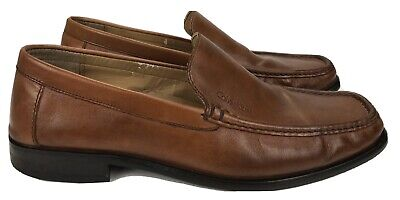 Men's 10.5 M - Calvin Klein Neno Brown Leather Loafers Dress Shoes Slip On