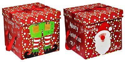 New Santa Christmas Eve Gift Storage Box with Lid & Ribbon Handles Xmas Present