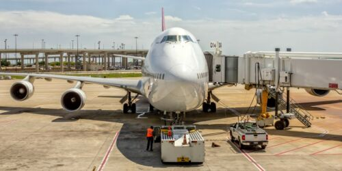 Qantas Airlines Boeing 747 Parked at Gate 10x20 Photograph (APPM10071)