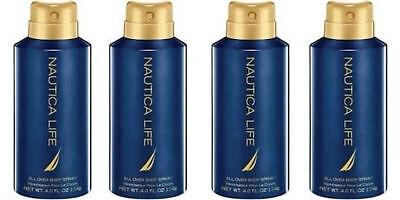 Nautica Life Cologne Deodorant Spray for Men 4.0 oz 114 g (Lot of 4) | Dented Mint Cologne Spray