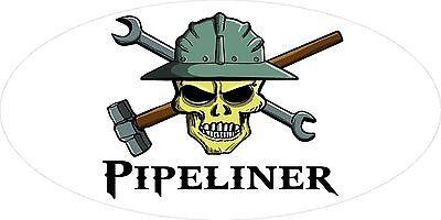 3 - Pipeliner Skull Oilfield Roughneck Hard Hat Helmet Sticker H310