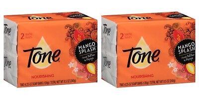 2X 2 Packs Tone Mango Splash Nourishing Bath Bar Soap 4.25 oz Bar 4 Bars Total ()