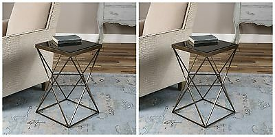 PAIR URBAN INDUSTRIAL AGED BRONZE IRON BEVELED BLACK GLASS TOP END SIDE TABLE