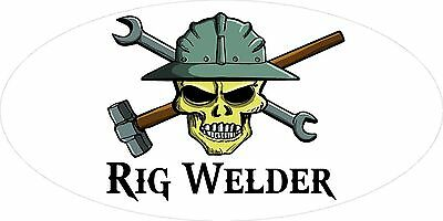 3 - Rig Welder Hand Skull Oilfield Roughneck Hard Hat Helmet Sticker H321