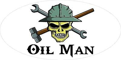 3 - Oil Man Skull Oilfield Roughneck Hard Hat Helmet Sticker H336
