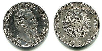 """5 Mark Preussen 1888 A  Silber """"Friedrich"""""""