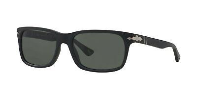 Persol Matte Black Rectangular Polarized Sunglasses, 0PO3048S 900058 58mm