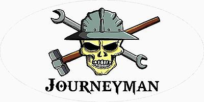 3 - Journeyman Skull Union Oilfield Hard Hat Tool Box Helmet Sticker H391