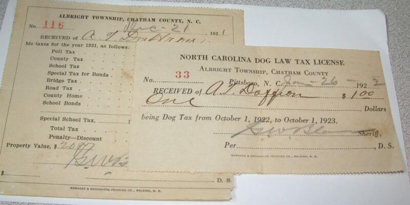 2 Tax Receipts A T DAFFRON Albright Township Chatham County, NC 1921-1922