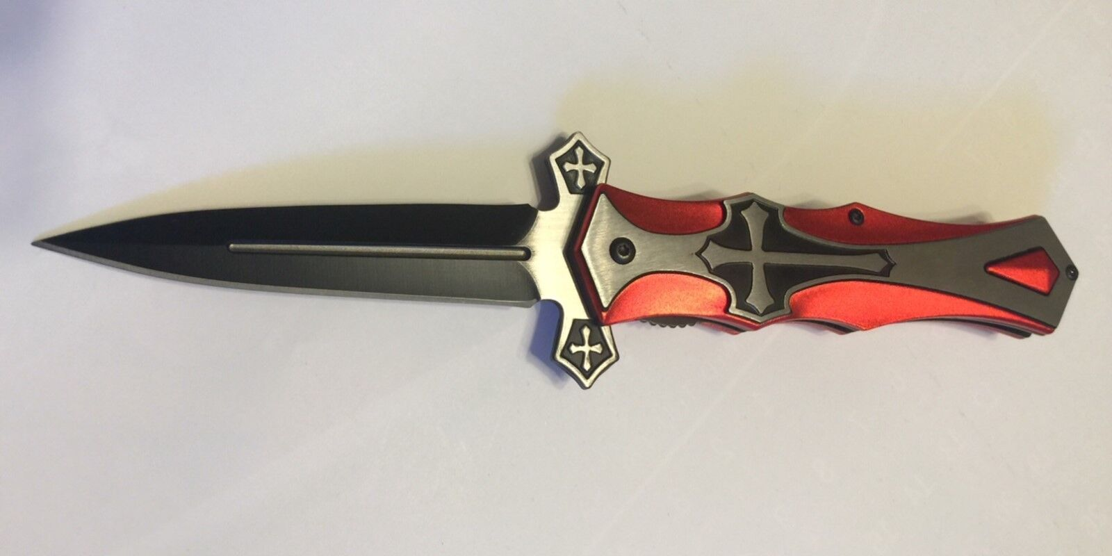 TAC-FORCE Spring Assisted Open Red CROSS Folding Blade STILE