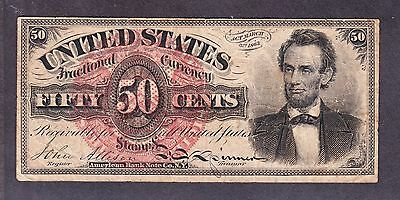 """US 50c Fractional Currency Note """"Lincoln"""" 4th Issue FR 1374 VF"""