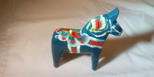 * Vintage Akta Dala Hemslojd Painted Swedish Dala Horse Figure Blue