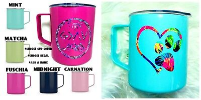 Personalized Cups With Lids (Personalized Stainless Cup with Lid and Handle - Choose Color, Decal,)