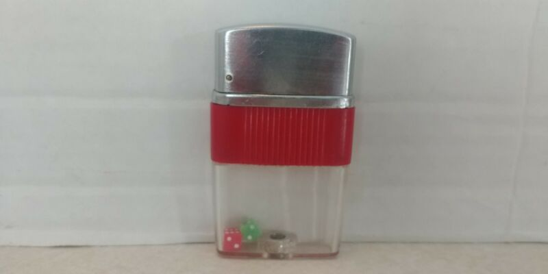 Vintage Red/Green Mini Dice Lighter See Through Bottom Shelf L3