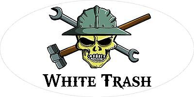 3 - White Trash Skull Oilfield Roughneck Hard Hat Helmet Sticker H323