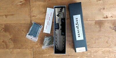 New Benchmade Adamas 375 Fixed Tan D2 Plain Blade Drop-Point Knife 375SN read