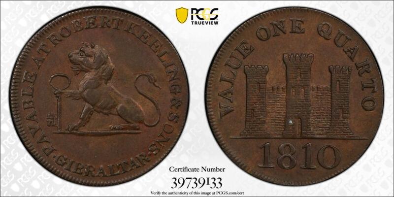 Gibraltar - 1810 Two Quart coin PCGS AU 58