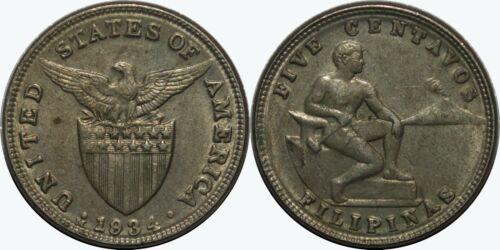 1934-M US/Philippines 5 Centavos ~ AU ~ Allen#5.04 ~ MX397