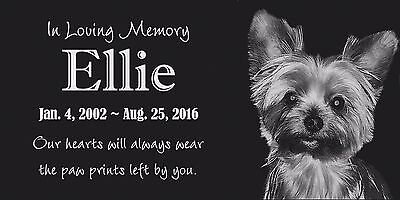 Personalized Pet Stone Memorial Grave Marker Granite Human Plaque Dog Cat 8932